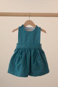 Turquoise pockets Pinafore dress//Pichi Bolsillos Turquesa |  No Sin Valentina shop online