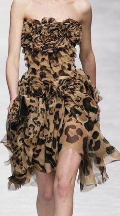 <3 leopard chiffon dress