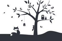 Animal Tree- Black - Fototapeter & Tapeter - Photowall