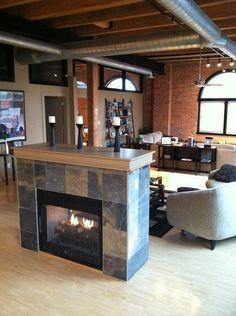 Love that slate fireplace