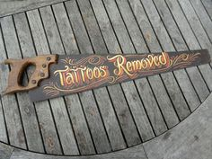 FANTASTIC VINTAGE TATTOOS REMOVED SIGN TATTOO SHOP PARLOUR SAW ADVERTISING G   eBay