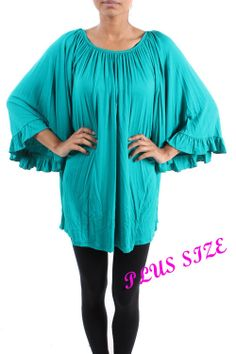 Mint Flowy Ruffle Sleeve Top - #blondellamydean #plussizefashion #plussize #curves