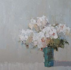Barbara Flowers, 'Hydrangeas in White Room', Oil on Canvas, 36x36 - Anne Irwin Fine Art