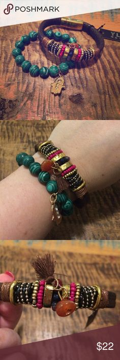 Gorgeous boho beaded bracelets brown, green & gold These boho beaded bracelets are so cool, but I just never end up wearing bracelets. Green is stretchy with gold  hamsa hand symbol charm. Brown has magnetic closure and tassel detail. Look great together or separate. Not Anthro, but has that vibe. Anthropologie Jewelry Bracelets