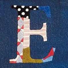 イニシャルハンド刺繍デニムバッグ