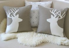 Deer Pillow Cover Pair, Alpine Chic, Mocha & Ivory Stag Antlers Appliqué Silhouettes, Rustic Modern Woodland 18x18 20x20 op Etsy, 112,10 €
