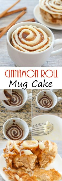 Cinnamon Roll Mug Cake This single serving microwave cinnamon roll mug cake has cinnamon swirls mixed throughout a fluffy cinnamon flavored cake. Its cinnamon roll meets cake in an easy mug cake form. - Cinnamon Roll Mug Cake Microwave Cake, Microwave Recipes, Baking Recipes, Cake Recipes, Dessert Recipes, Cinnamon Recipes, Microwave Deserts, Steak Recipes, Just Desserts