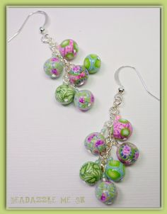 Polymer Clay Pink Limeade Bauble Earrings handmade by BeadazzleMe, $16.00