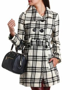 Double Breasted Plaid Coat: Charlotte Russe