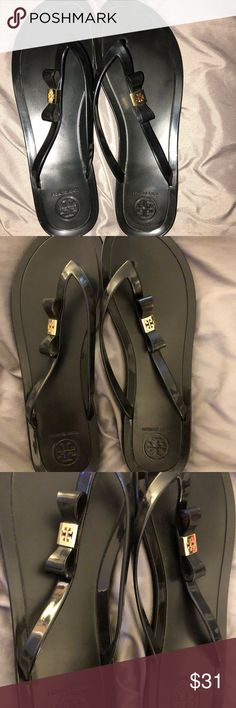 Tory Burch Bow Flip Flops Tory Burch Bow Flip Flops. Like new! Gold bows Tory Burch Shoes Sandals