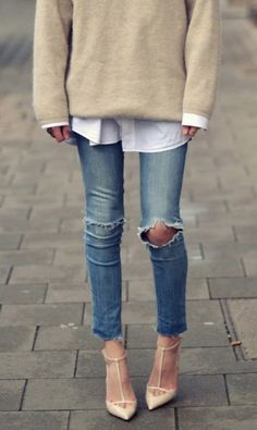 Distressed jeans, oversized layers, heels