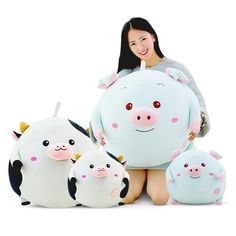 Round World Cow Pig Doll Plush Toy Soft Stuffed Animals Pillow Sofa Cushions