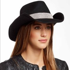Darrel Cowgirl hat Darrell Felt Cowboy Hat PGD9153-BLK  This Felt Cowboy Hat features a Black Leather and Rhinestone band that ties in back. Made of 100% Wool. One size fits most. Darrel Accessories Hats