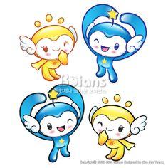 사랑한다는 제스처의 해와 별 캐릭터. 자연 캐릭터 디자인 시리즈. (BCDS011616) Gesture of love by the Sun and Star Mascot. Nature Character Design Series. Copyrightⓒ2000-2014 Boians.com designed by Cho Joo Young.