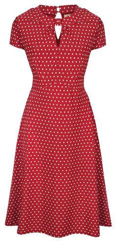Lindy Bop 'Juliet' Classy Red Polka Dot Vintage WW2 Landgirl 1940s 1950s Pinup Retro Tea Dress (M, Red)
