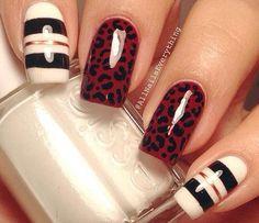 nail art how to, nail art tutorial, stripes nails, animal print nails, leopard print nails, Valentine's Day nails | NailIt! Magazine