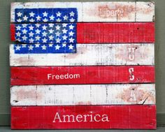 American Flag art tutorial made from an old pallet