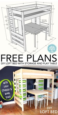 Diy Furniture : Learn how to build a DIY loft bed with play table and TONS of storage! FREE plan