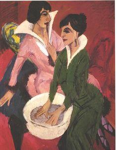 Kirchner - Zwei Frauen mit Waschbecken - Ernst Ludwig Kirchner - Wikimedia Commons