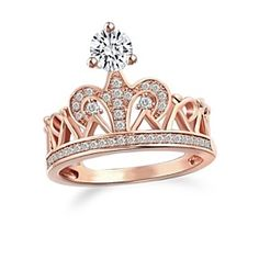 Crown Design Sterling Silver Rose Gold Plated D/VVS1 Women'S Ring by JewelryHub on Opensky