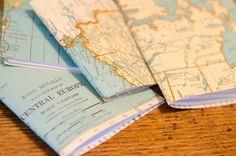 DIY: Vintage Map Pocket Notebooks. Great wedding favor for a travel themed wedding!