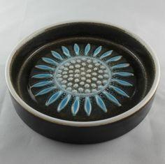 Vintage Retro Blue & Brown Hornsea Pottery Impact Dish ca 1960s John Clappison