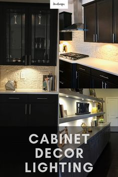 Cabinet Decor Lighting that levels up your cabinet decor by providing much needed accent lighting to your kitchen or bar area. This easy DIY guides you on how to install your own cabinet decor lighting at an affordable cost. Modern Farmhouse Kitchens, Rustic Farmhouse Decor, Rustic Kitchen, Diy Kitchen, Kitchen Design, Kitchen Ideas, Kitchen Inspiration, Kitchen Under Cabinet Lighting, Kitchen Lighting