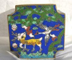 $28.95 VTG Chinese Blue #Cloisonne Enamel Brass Box  Bird Deer Forest Aqua Inlay #antique
