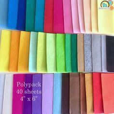 Felt Poly packs - washable felt in 40 colors. Felting Tutorials, Felt Food, Felt Patterns, Felt Crafts, Plushies, Craft Supplies, Packing, Gift Wrapping, Embroidery