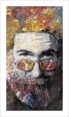 Jerry Garcia art - the grateful dead guitarist art print by Tom Noll Hippie Culture, Music Artwork, Forever Grateful, Hippie Art, Grateful Dead, Concert Posters, Artist Art, Rock Art, Cool Bands
