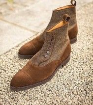 Brown Suede Button Leather Ankle Boots Tweed Handmade Cap Toe Slip On US 7-16 - £123.59