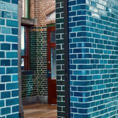 Inspiration Friday -the beautiful Terca Glazed Blue brick. Pantone has announced that this year's colour is the CLASSIC BLUE Brick Tiles, Roof Tiles, Glazed Brick, Brickwork, Construction Materials, Joinery, Pantone, Facade, Skyscraper
