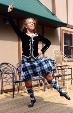 jacket made by her Mom, kilt made by Karen Fyfe, socks by Bonnie Tartan Scottish Highland Dance, Drum Major, Country Dance, Scottish Plaid, Tartan Dress, Lets Dance, Kilts, Plaid Skirts, Highlands