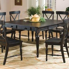 Black Dining Table with 18-Inch Leaf