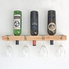 Vino Rack-de pared botellero madera tiene 3 botellas y 4 copas de vino - sin terminar