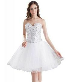 Cute cheap short white prom poofy formal prom homecoming puffy ...
