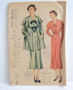 Simplicity Customode Pattern 1930s Dress and Cape Collar Jacket | eBay