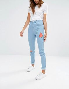 Noisy May   Noisy May Donna Mom Jeans with Summer Patches at ASOS