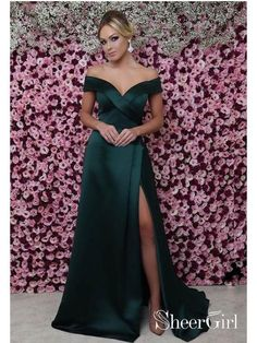 Sale Comfortable Green Prom Dress Off The Shoulder Mermaid Prom Dresses Sexy Thigh Split Green Formal Dresses Green Evening Dress, Cheap Evening Dresses, Cheap Dresses, Sexy Dresses, Evening Gowns, Beautiful Dresses, Green Formal Dresses, Strapless Dress Formal, Formal Gowns
