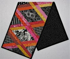 """Modern Quilted Table Runner, Black and White Bordered Diamond Table Mat, Multi-Color Boho Table Runner, 36""""x11"""", Quiltsy Handmade by VillageQuilts on Etsy"""