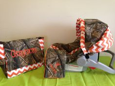 3 Piece Set ORANGE CHEVRON & REALTREE camo fabric infant Car Seat Cover and Canopy Cover and Diaper Bag and Huggy Blanket with Free Monogram on Etsy, $115.00