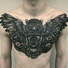 Owl Chest Piece, by micotattoo