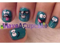 Bloo from Foster's Home for Imaginary Friends Nail Art