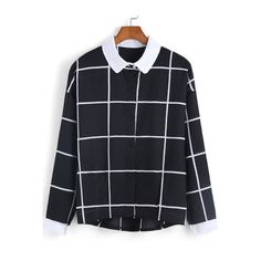 LUCLUC Black and White Plaid Sleeveless Blouse ($16) ❤ liked on ...