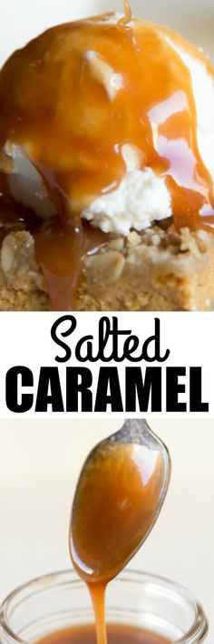 An easy homemade Salted Caramel Sauce perfect for drizzling on hot chocolate, cookies, candy, and ice cream! Or just eat it with a spoon.