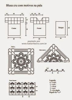 Gráfico blusa branca em crochê com motivos - Katia Ribeiro Crochê Moda e Decoração Handmade