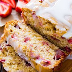 If cinnamon bread is for winter, we're going to go ahead and say glazed strawberry bread is your go-to for spring.