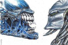 easy drawings of predator vs alien   ... predator. Here is a wonderful example of an Alien vs. Predator drawing