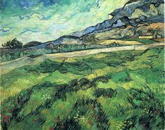 Green Wheat Field - Painted in June 1889 while in the Saint-Rémy Asylum. Current location: Zurich: Kunsthaus Zurich--on loan ...............#GT