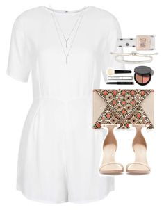 """Outfit for a birthday meal with a white playsuit"" by ferned on Polyvore featuring Motel, Zara, Monica Vinader, Bobbi Brown Cosmetics, BCBGeneration and Topshop"